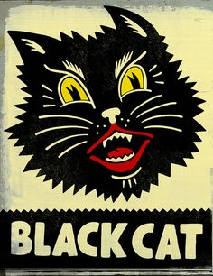 Cats in Art and Illustration: Black Cat Retro Halloween, Halloween Cat, Vintage Halloween Images, Halloween Ideas, Retro Poster, Vintage Posters, I Love Cats, Cool Cats, Drawing Simple