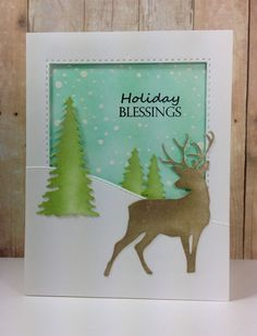 Birch tree accessories: Tailored Expressions, Evergreen tree dies: Impression Obsession, winter, by beesmom - Cards and Paper Crafts at Splitcoaststampers