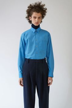 Acne Studios York Stretch blue is a square sleeve placket business shirt in a classic cotton poplin.