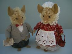"""Lady and Gentleman Mouse 7"""" tall by Bumble Bears & Designs. £12 each plus postage, available from my folksy shop www.folksy.com/shops/BumbleBearsandDesigns"""