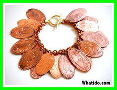 instructions on how to make a pressed penny bracelets and necklaces