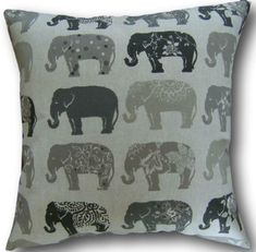 Cushion Covers made in Clarke & Clarke Elephants Natural Grey Black Pillows Animal Cushions, Brown Cushions, Cushion Covers Uk, Cushion Cover Designs, Brown Throw Pillows, Black Pillows, Clarke And Clarke Fabric, Elephant Pillow