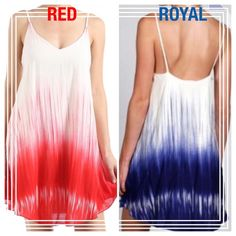 "HOST PICK 12/4DIP DYE CAMI DRESS! Cute dip dye cami dress, fully lined, 100% rayon. RED OR ROYAL. Super soft. Super pretty. Made in USA NWOT PLEASE DO NOT BUY THIS LISTING! I will personalize one for you.                                                          ♦️SMALL: bust 36"" length 34.5""              ♦️MEDIUM: bust 38"" length 36""                      ♦️LARGE: bust 40"" length 36.5"" tla2 Dresses"