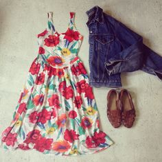 80's floral midi, 70's Levi's jacket and sweet li'l sandals