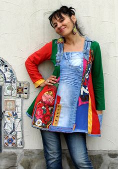 Denim and  colorful fabrics crazy recycled top dress by jamfashion