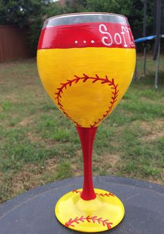 Softball Mom hand painted Wine glasses by TheSparkleFairies