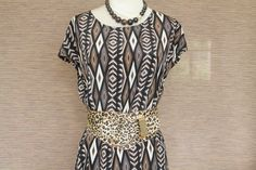 Tribal Pattern Dress Brown Vintage by TequilaCloset on Etsy, $28.00