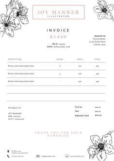 creative invoice template instant download - receipt template, Invoice examples