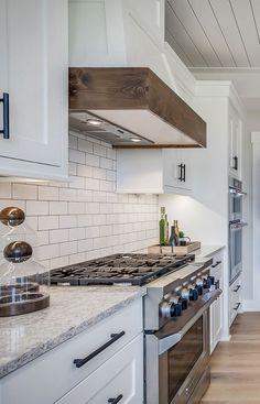 Finding The Best Dream Kitchen White Farmhouse Subway Tiles 69 Black Kitchen Cabinets, Kitchen Hoods, Kitchen Redo, New Kitchen, Kitchen Remodel, Kitchen Design, Kitchen White, White Cabinets, Kitchen Ideas