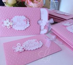 Created for a pretty little girl / invitations handmade cards pink sizzix big kick / scrapbooking / crafting studio / bautizo / invitaciones / paper goods / craft lover Christening Invitations Girl, First Communion Invitations, Baby Christening, Baptism Invitations, Baby Shower Invitations, Customized Invitations, Deco Baby Shower, Baptism Cards, Baby Party