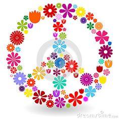 Signo de la paz hecho de flores