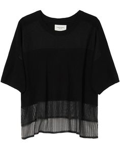 Public School Pointelle Tee: Black: Pointelle hand-work details this weighted drape knit tee. Short sleeves. Asymmetric hem. Semi sheer. In black. Fabric: 69% wool/17% nylon/14% polyester Made in China. Model Measurements: Height 5'10 1/2; Waist 24 ; Bust 31 wearing size P Length from ...