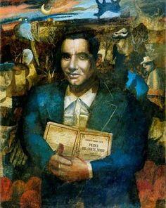 Federico García Lorca (5 juni 1898 – 19 augustus 1936) Portret door Mick Rooney, 1990-95