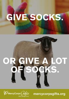 You know what's better than socks? A four-legged sock-making machine.  This holiday, give a sheep to a family in need.Shop over 50 Mercy CorpsGifts at http://gifts.mercycorps.org/    #giftsthatgive  #sheep