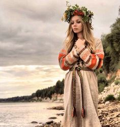 nature-soldier: slavs unter We Heart It. Aryan Race, Ukraine Women, Medieval Costume, Russian Folk, Culture, Gods And Goddesses, Old World, Pagan, Beauty Women