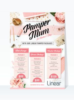 Beautiful feminine poster flyer for Mother's Day marketing. Gold and apricot. Gold and pink. flat lay image. Hairdresser marketing.