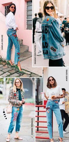 jeans com patches: famosas usANDO