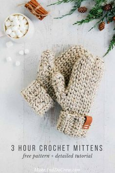 This classic chunky mittens pattern looks knit, but it's actually crochet! Get the full free pattern for women and detailed tutorial featuring Lion Brand Wool-Ease Thick & Quick.