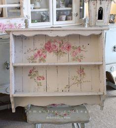 Custom Color and Decorative Shabby Chic  Large Vintage Style Roses Shelf