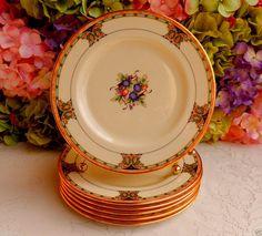 6 Beautiful Vintage Lenox Porcelain Salad Plates Tuscan Orchard Scrolls Gold #Lenox