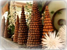 """So gorge! I was googling pine cones for my """"raised in Kenya"""" daughter and found these. Will have to make when we move back! Somewhat Quirky: Pine Cone Christmas Trees Christmas Crafts To Make, Christmas Projects, Christmas Holidays, Country Christmas, Miniature Christmas, Primitive Christmas, Christmas Carol, Christmas Snowman, Christmas Christmas"""