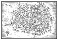 """A map of the fictional city of Gerse. Created for the fantasy novel """"Liars Moon"""" by Elizabeth Bunce. Published by Scholastic Books"""