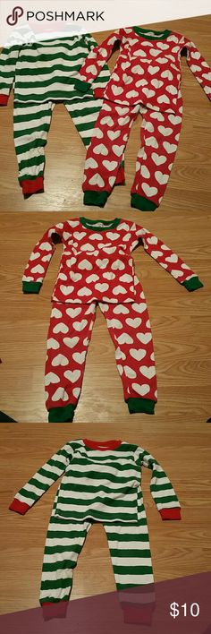 Thermal sets A green and white striped thermal set with red around the ankles, wrists and collar. A red thermal with white hearts and free around the ankles, wrists and collar. Carter's Pajamas Pajama Sets