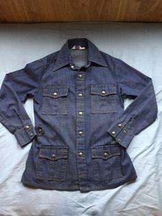 8cef749dfe8 Levi s Denim Shirt W Snaps Jean Jacket Vintage Menswear Cowboy Cursive L Tab
