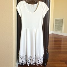 White dress White flower dress with flowers at the bottom Charlotte Russe Dresses