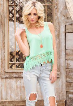 Lacie Crochet Top - Mint