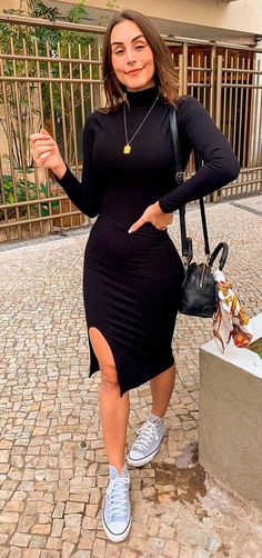 Vestido midi e All star: 15 ideias de looks - Guita Moda Modest Casual Outfits, Classy Outfits, Cute Outfits, Outfits With Converse, Look Chic, Fashion Outfits, Womens Fashion, Casual Chic, Casual Looks