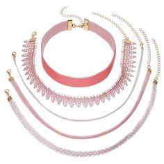 Pink Lace & Velvet Choker Necklace Set