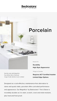 Everything you need to know about using Porcelain countertops in your home! By Bedrosians Tile & Stone #porcelain #porcelaincountertops #porcelainkitchen