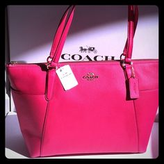 """✨COACH tote Perfect spring and summer handbag!  100% Authentic COACH AVA II pebble leather tote.  Pink Ruby color with gold hardware.  2 large exterior pockets on each side.  2 slip pockets and 1 zip pocket inside.   Measures 17"""" wide across the top and tapers to 12.5"""" across the bottom, 4"""" deep, 10.5"""" high.  Brand new with tags!  Gorgeous bag!!! Coach Bags Totes"""