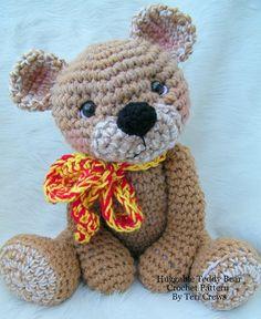 A crocheted teddy bear big enough for hugs.