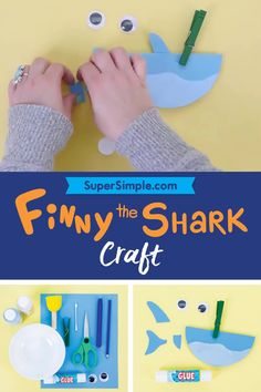 Finny the Shark Craft Our Finny the Shark craft highlights teaching circle shapes, tracing, cutting, Paper Crafts For Kids, Craft Activities For Kids, Infant Activities, Classroom Activities, Preschool Crafts, Diy For Kids, Duck Crafts, Glue Crafts, Shark Craft