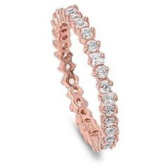 3MM Stackable Band 14K Rose Gold 925 Sterling Silver Round Diamonds Clear Sparkling CZ Channel Wedding Engagement Anniversary Ring Size 4-10