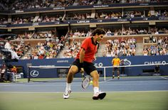 Roger Federer setting up match point against Novak Djokovic during the semis at the 2009 US Open.  Considering everything, this is the GREATEST SHOT in tennis history.