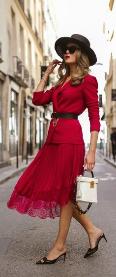 CLICK FOR OUTFIT DETAILS!    Red blazer with coordinating red lace skirt 933489f747b