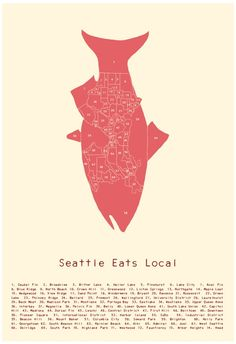 Seattle Eats Local Neighborhood poster. $25.00, via Etsy.