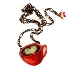 Coffee Mug Necklace, Coffee Lovers Gift Idea, Acrylic, Coffee with... ($38) ❤ liked on Polyvore featuring jewelry, necklaces, heart shaped pendant necklace, red heart pendant, red heart necklace, red collar necklace and pendant necklaces