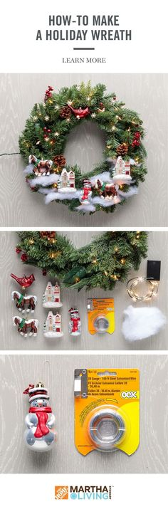 Get your home ready for holiday guests with this DIY project using the Martha Stewart Living holiday collection, available exclusive at The Home Depot. Learn how to create a festive wreath for the holidays in 3 easy steps! Noel Christmas, Homemade Christmas, All Things Christmas, Simple Christmas, Winter Christmas, Christmas Ornaments, Christmas Vacation, Scandinavian Christmas, Christmas Music