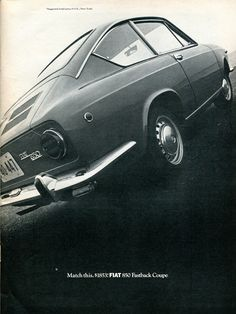 1968 Fiat 850 Fastback Coupe Advertisement Road  Track March 1968