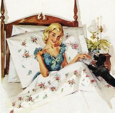 Wake Up - detail from 1956 Wamsutta Mills ad.