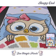 Sleepy Owl crochet graph/pattern; PDF download; crochet afghan/graphgan/graphghan/corner to corner/c2c