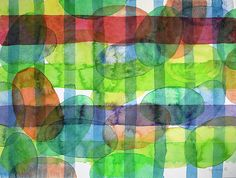 Ovals And Checks by Heidi Capitaine#Capitaine#Art#Artist#Painting#Contemporary#Watercolour#Abstract#FineArt#WallArt#Pattern#Oval#Stripes
