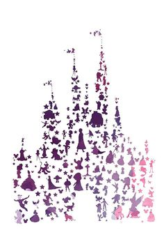 new disney character castle.. watercolor.. by studiomarshallarts