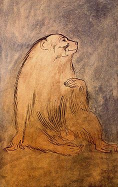 Pablo Picasso : Seated monkey - Le singe assis (1905).