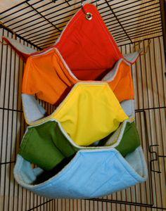 Rainbow Light Blue Fleece Hammock for Small Animals- Rat, Chinchilla, Sugar Glider, Ferret. $16.00, via Etsy.