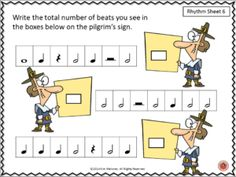 35 rhythm sheets. ♦ The student is asked to count the number of beats in the boxes and writing the answer on a Thanksgiving related image. ♦ All images are color - excellent for projecting as a group/whole class activity.